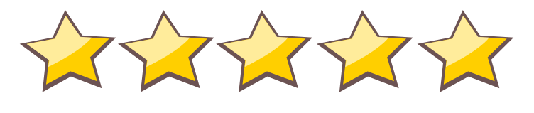 Graphic of five golden stars in a line
