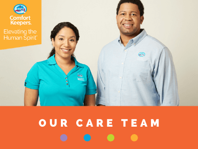 """Graphic of two Comfort Keepers caregivers with text that says """"Our Care Team"""""""