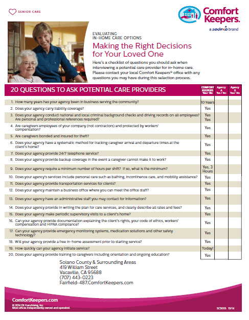Click here to download our brochure on 20 Questions to Ask a Home Care Provider Before Hiring