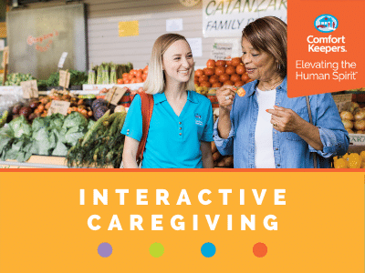 Comfort Keepers Home Care Graphic for Interactive Caregiving - shows a senior and caregiver shopping for produce at the grocery store