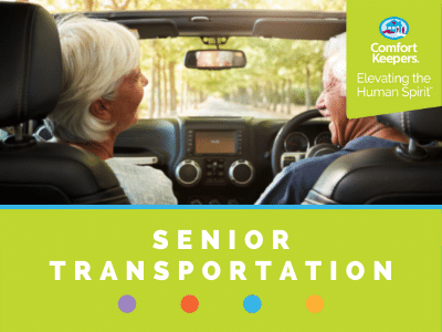 Comfort Keepers Home Care Graphic for Senior Transportation - shows an elderly couple driving in their car