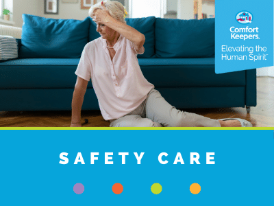 Comfort Keepers Home Care Graphic for Safety Care - shows a senior on the floor after a fall