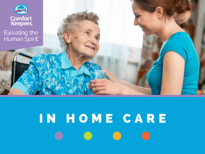 Graphic for in home care services that includes caregiver handing water to senior.