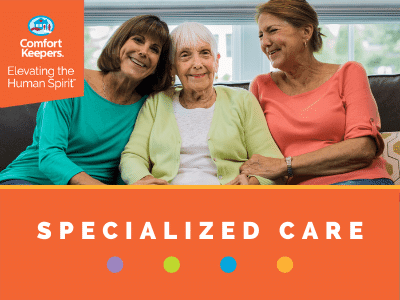 Graphic for specialized care services that shows daughters with their senior mother sitting on the couch.