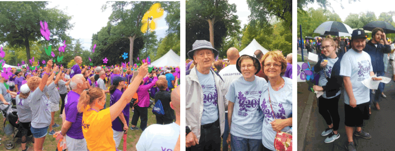 Three photos of people participating in the Walk to End Alzheimer's
