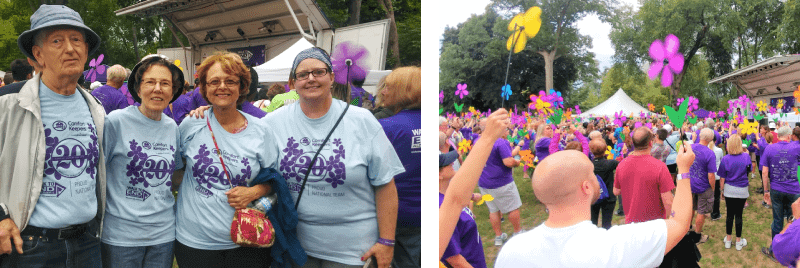 Two photos of people participating in the Walk to End Alzheimer's