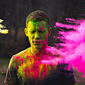 user surrounded by colours