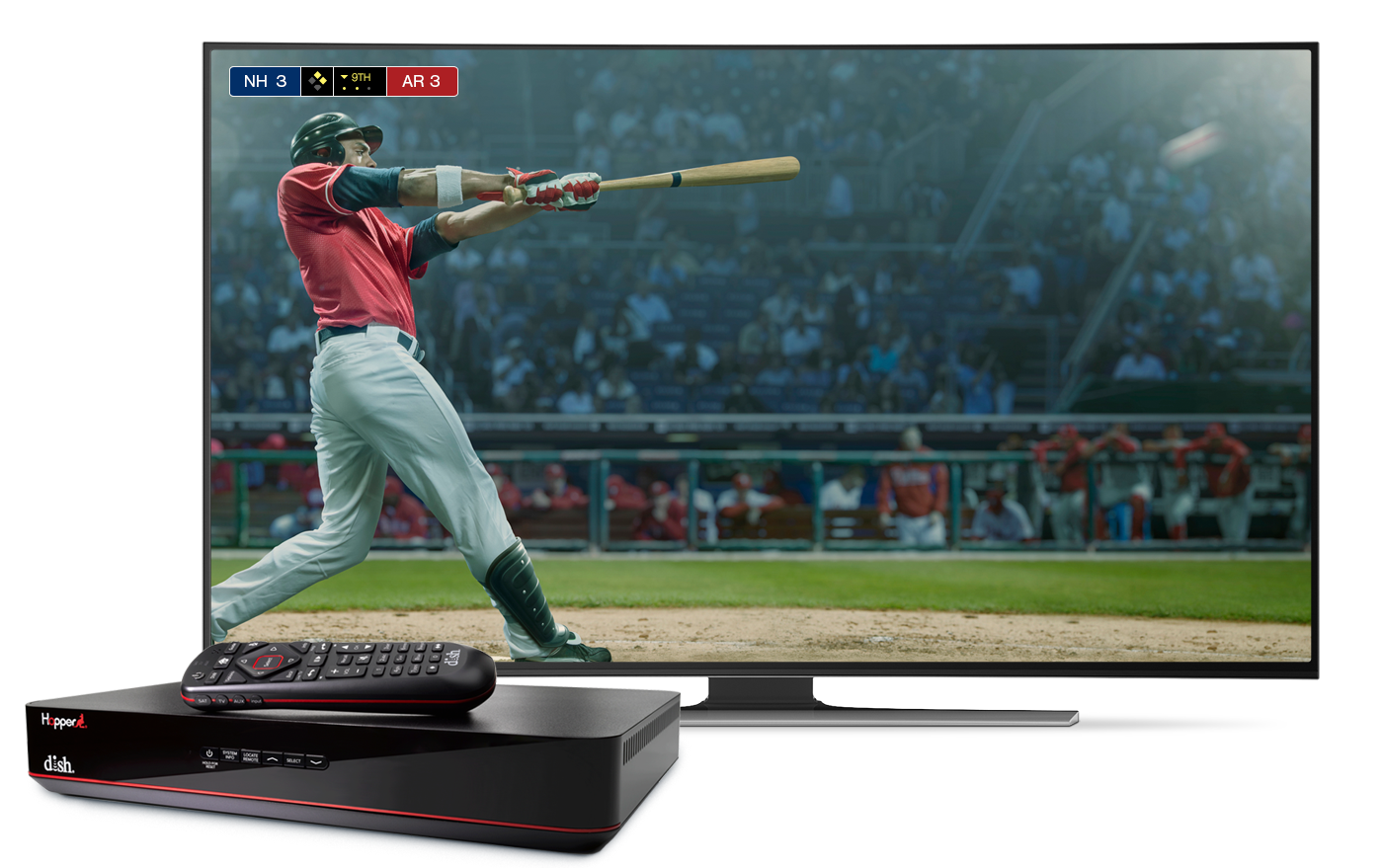 TV with image of baseball and a hopper dvr