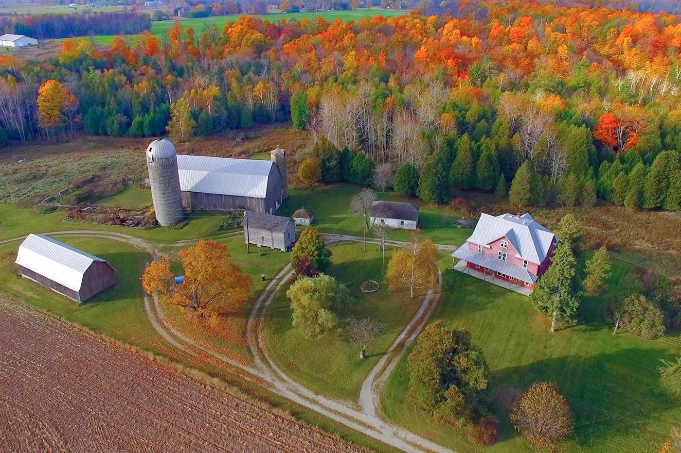 house in rural fall setting