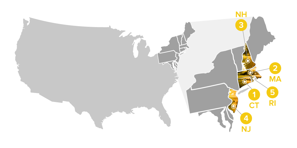 map illustration of top rural states