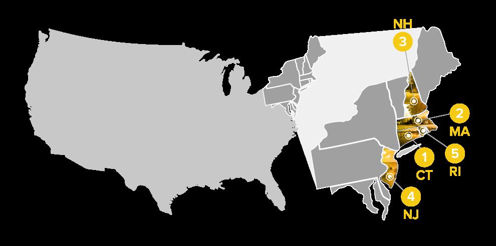 map illustration of top rural states