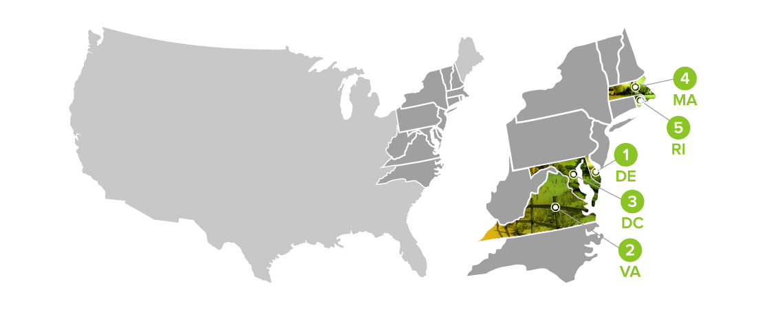 illustrated map of states with top speed