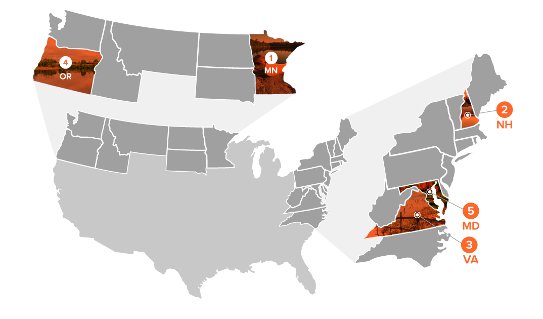 illlustrated map showing states with best support
