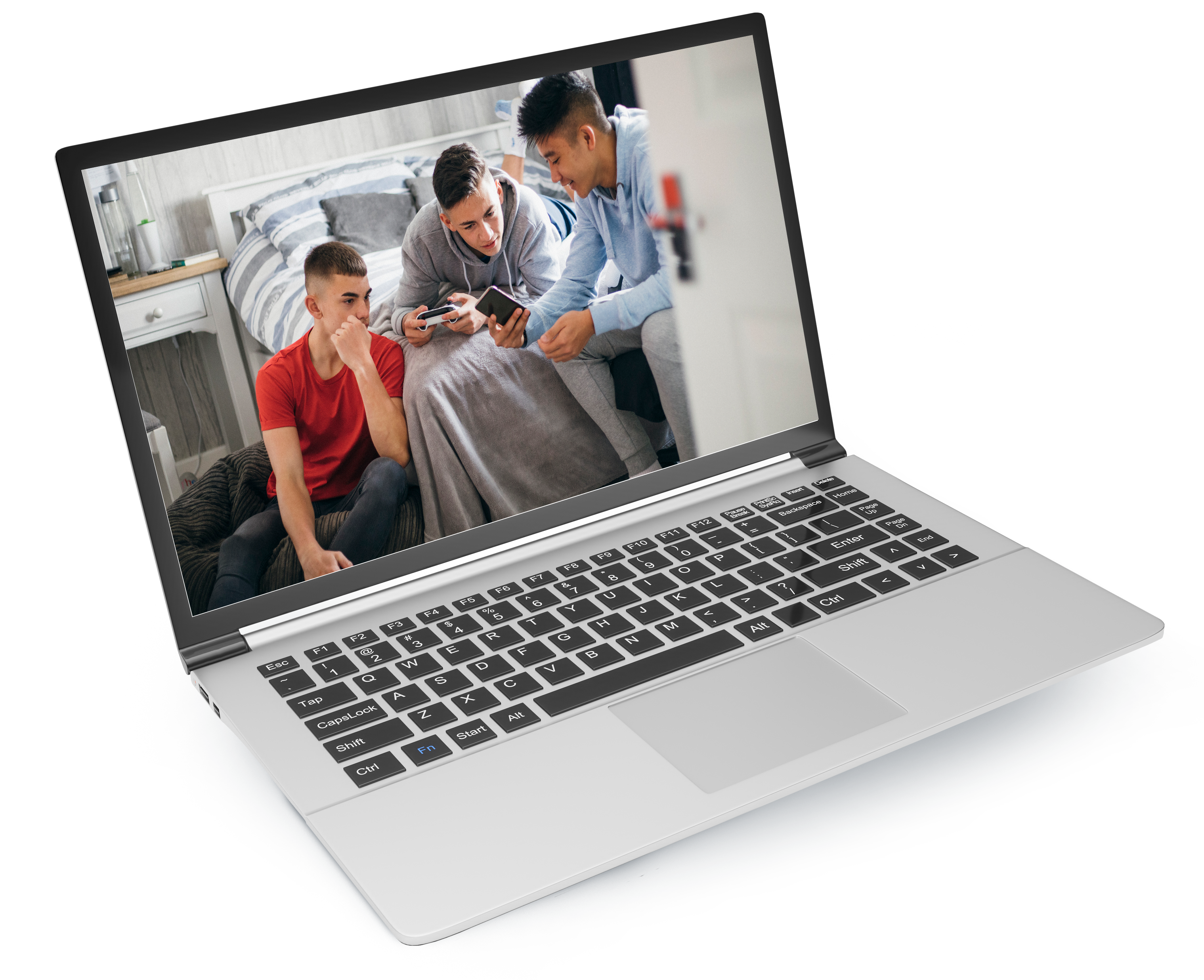 laptop with teens hanging out on screen