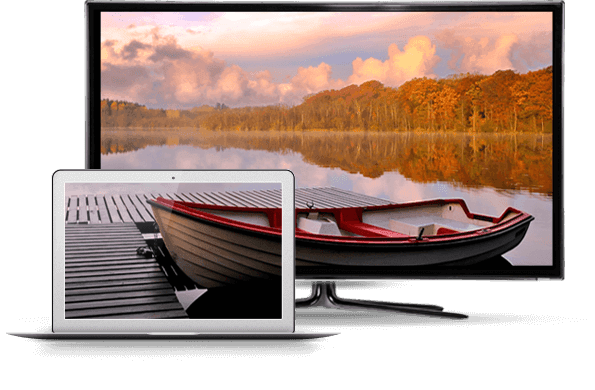 TV and computer display image of a canoe