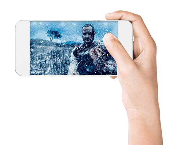 Hand holding phone with movie playing