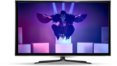 TV with image of performance art