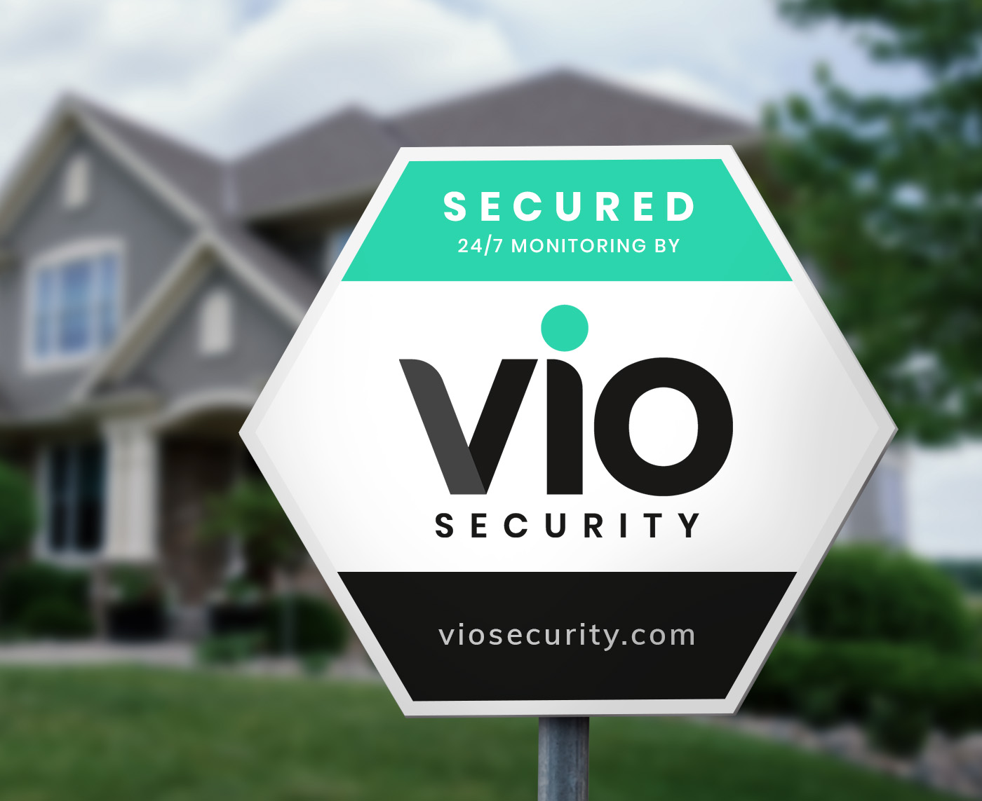Vio sign in the front yard of a home