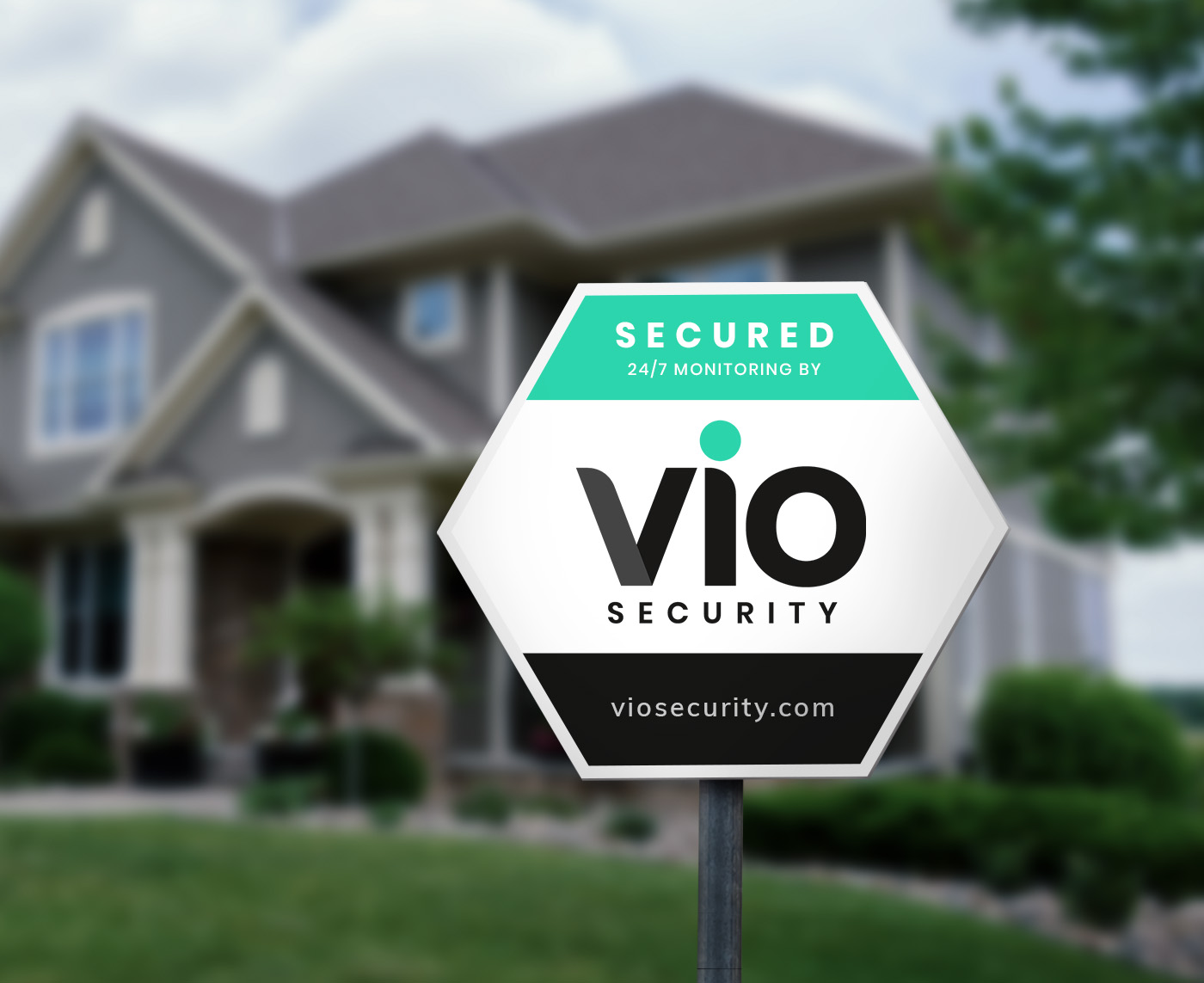 Vio Security sign in front yard of home