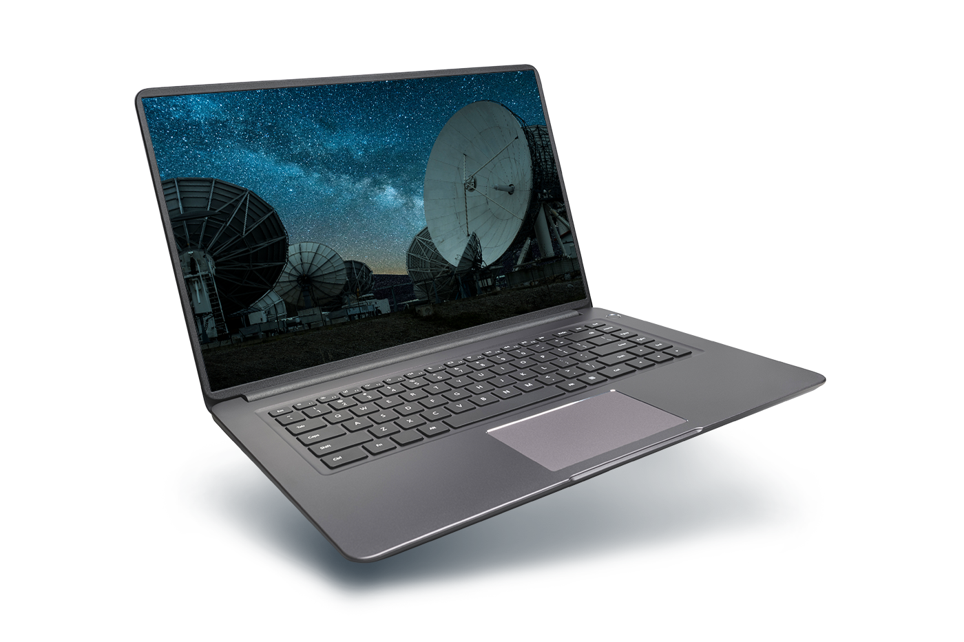 laptop with image of a satellite dish