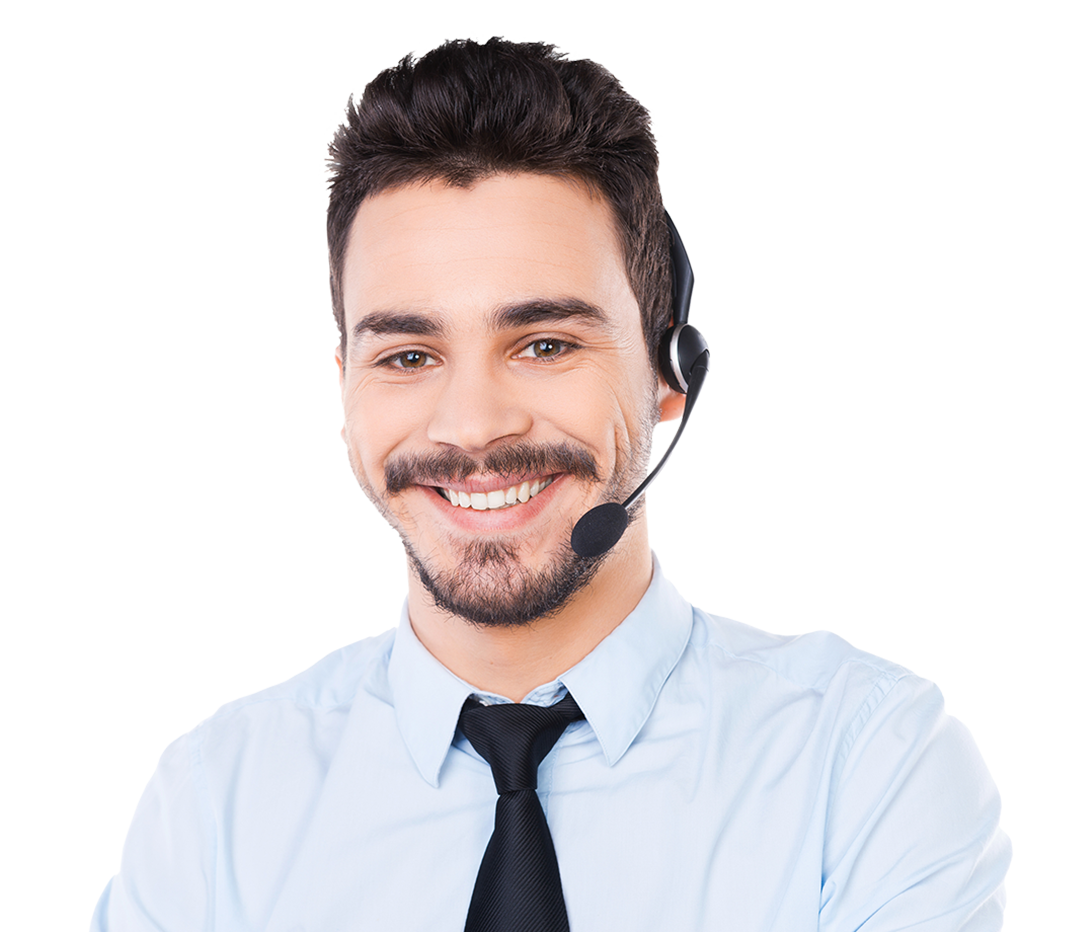 man with headset working customer service