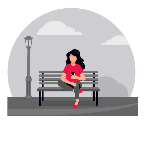 illustration of woman sitting on bench watching phone