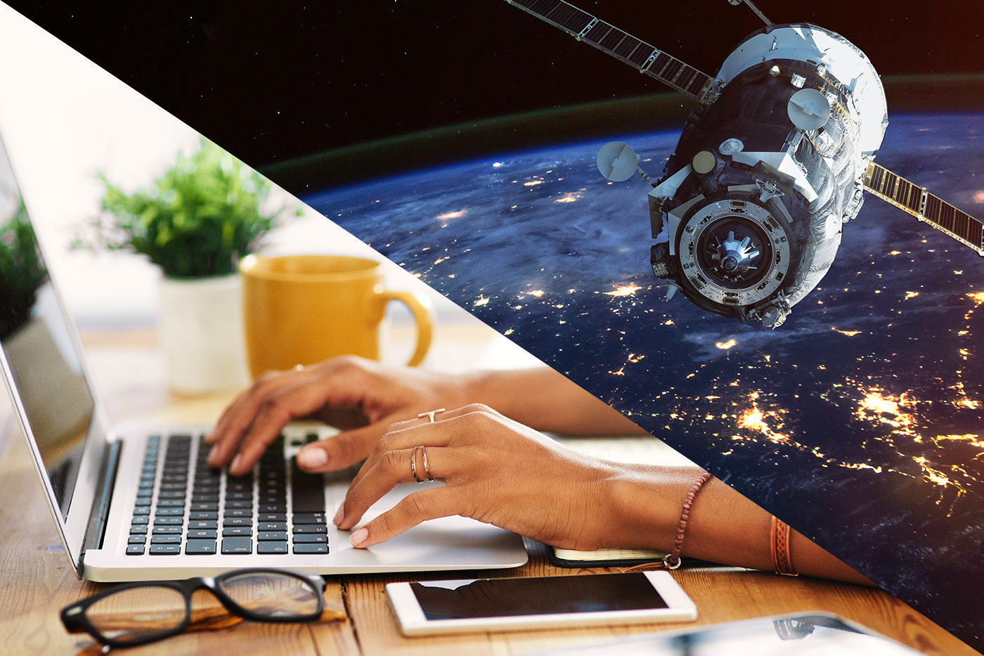A split image of satellite in space on one side and woman's hands typing laptop on the other