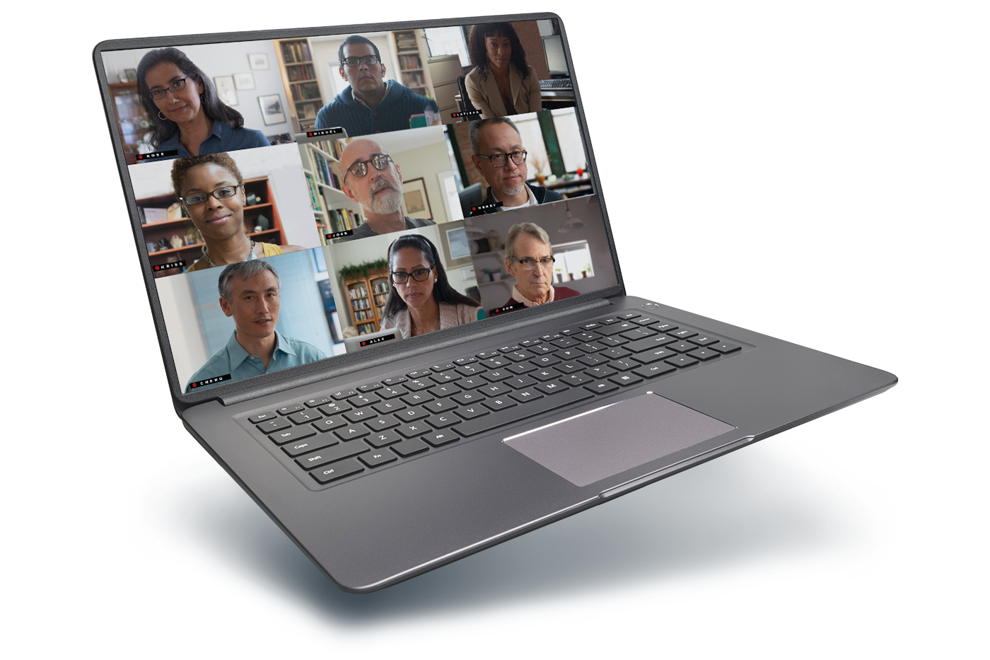 laptop with video conference on screen