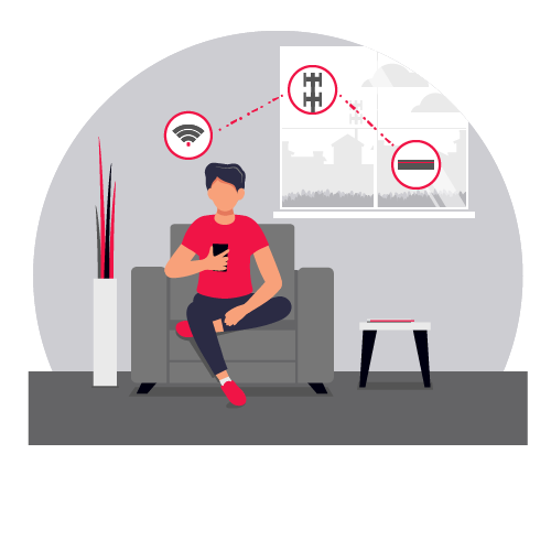 illustration of man in waiting room watching DISH TV on his phone