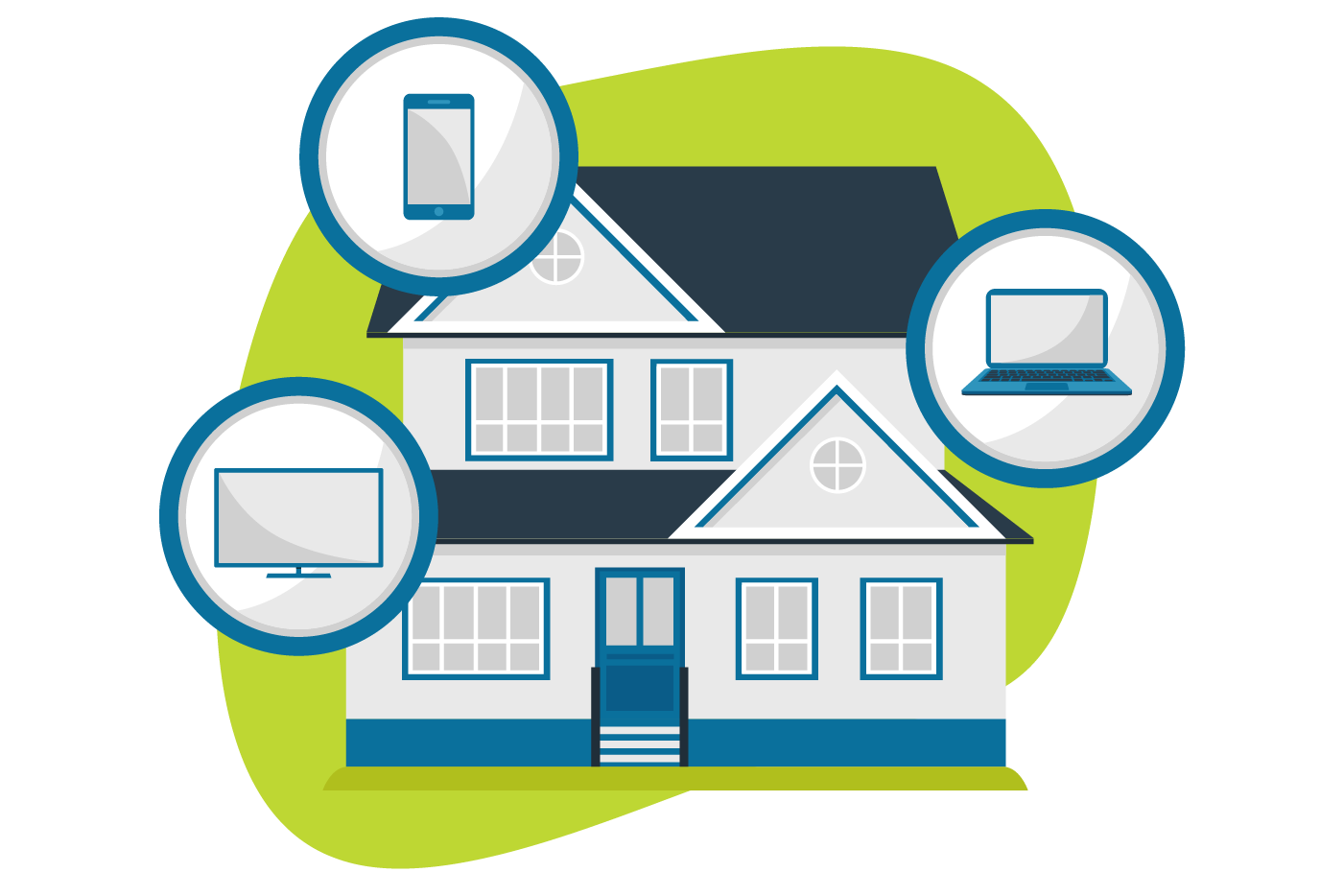 Illustration of house with multiple smart devices