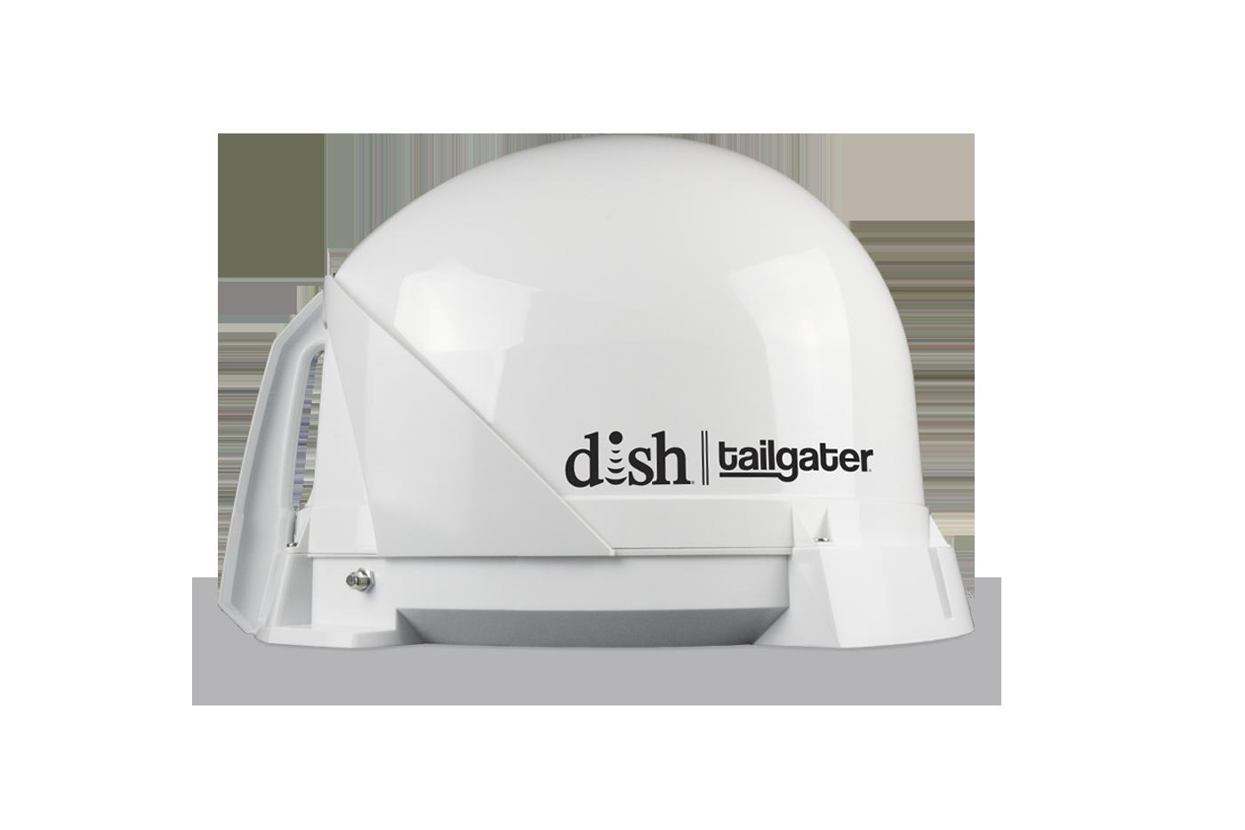 White DISH tailgater antenna