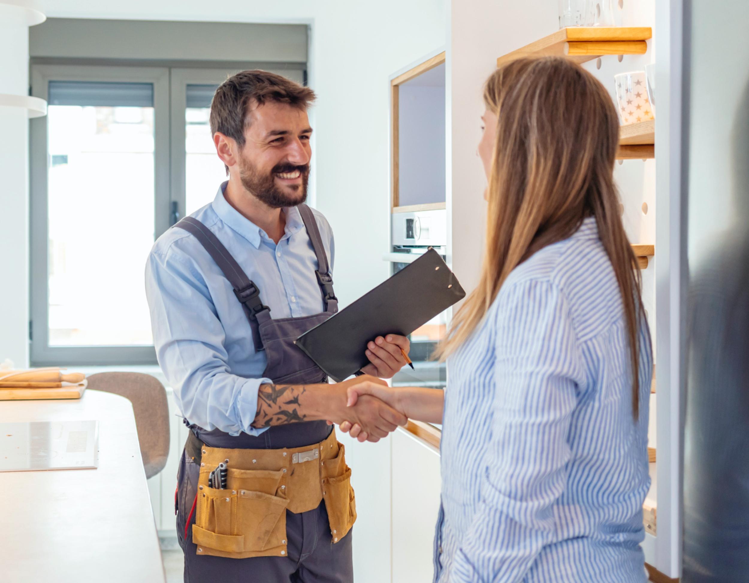 Installer with happy customer