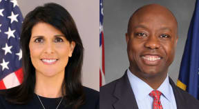 Headshots of Ambassador Nikki Haley (left) and Senator Tim Scott (right)