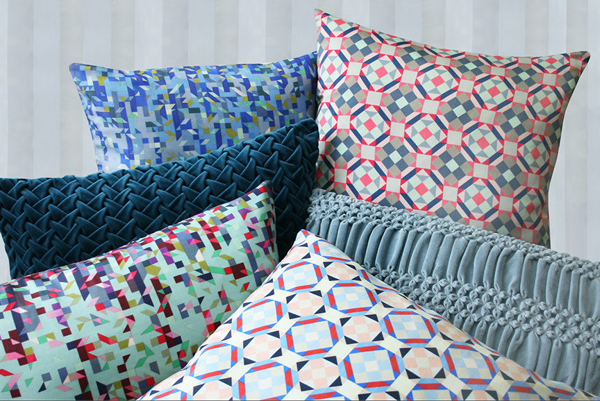 Hand Stiched and Printed Silk Cushions