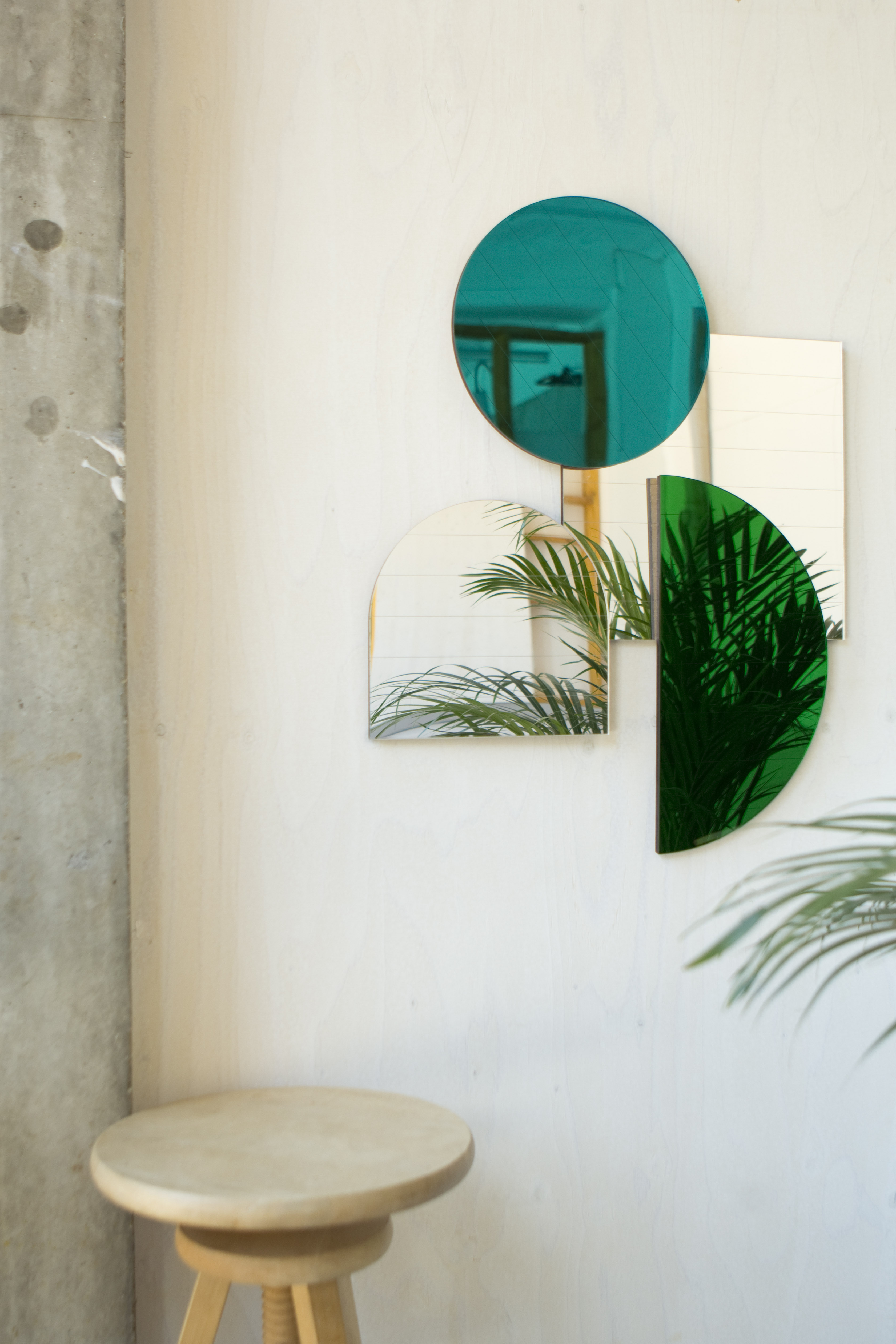 Layer Collection of modular mirrors in Teal colourway