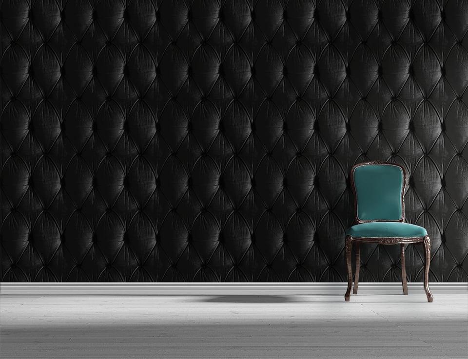 Black Chesterfield Button Back Wallpaper