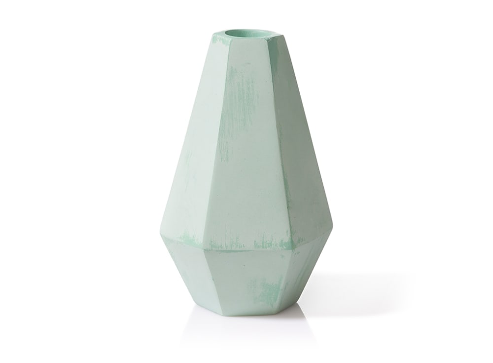 Geometric Concrete Candle Holder in Tall Mint by Korridor