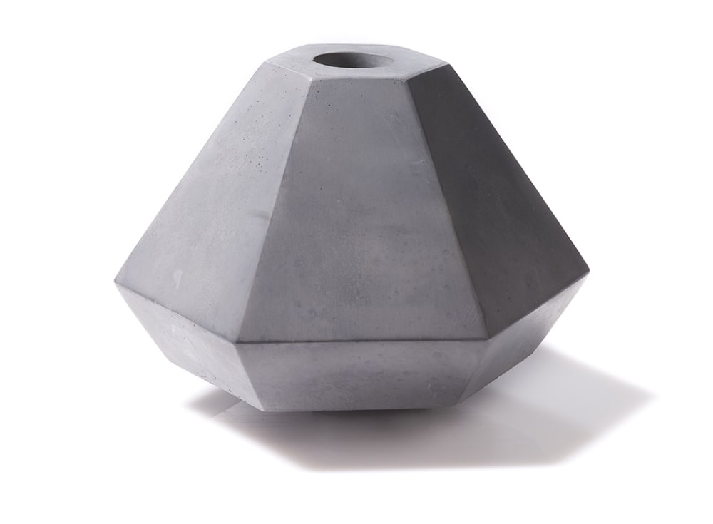 Geometric Concrete Candle Holder in Short Grey by Korridor