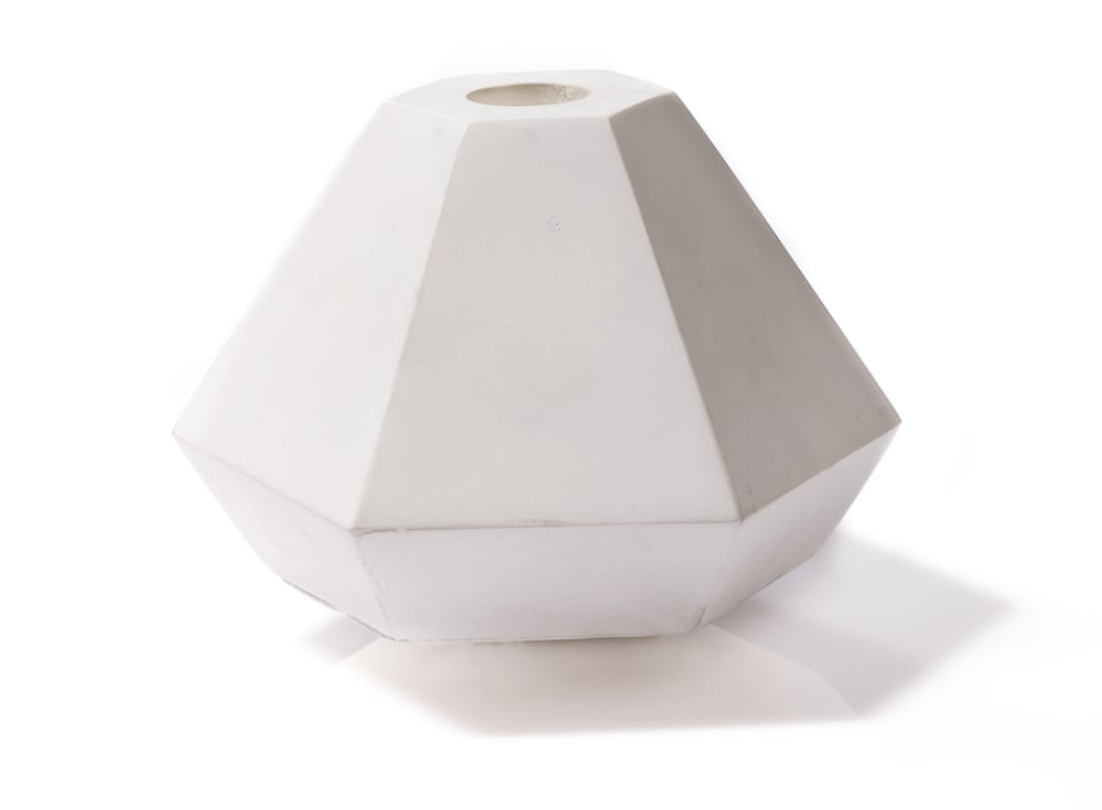 Geometric Concrete Candle Holder in Short White by Korridor