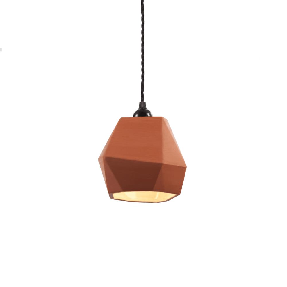 Geometric Terracotta Pendant Shade (inside glazed)