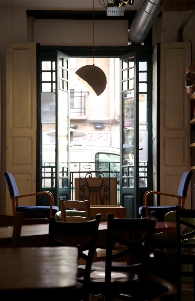 Globe lamp in Cafe Ubik in Valencia, Spain