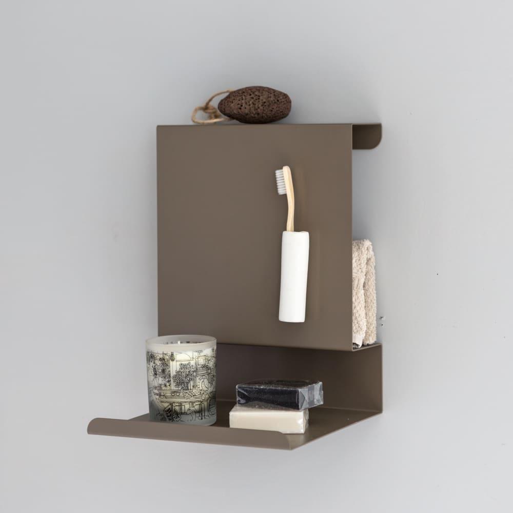 Browngrey Ledge:able Shelf in the bathroom