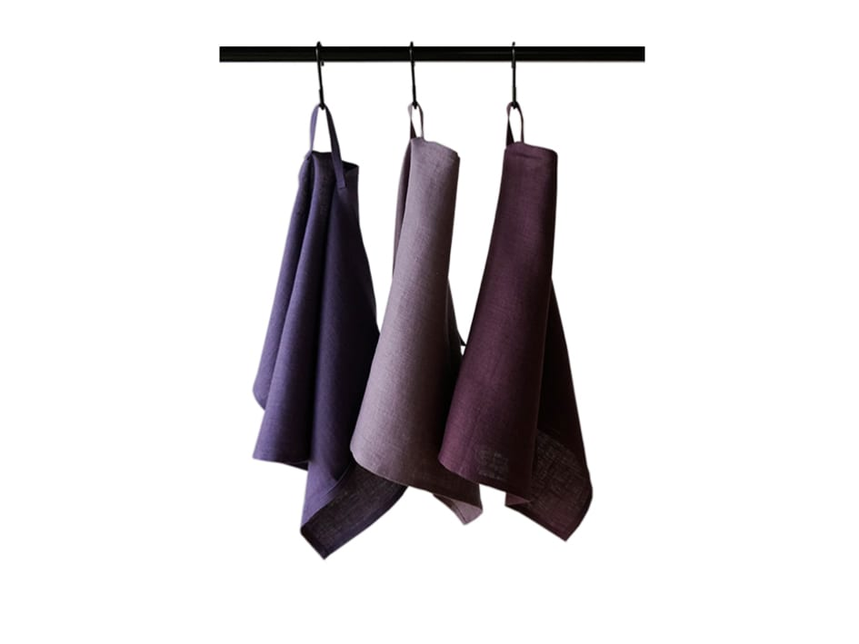 Violet linen tea towels set