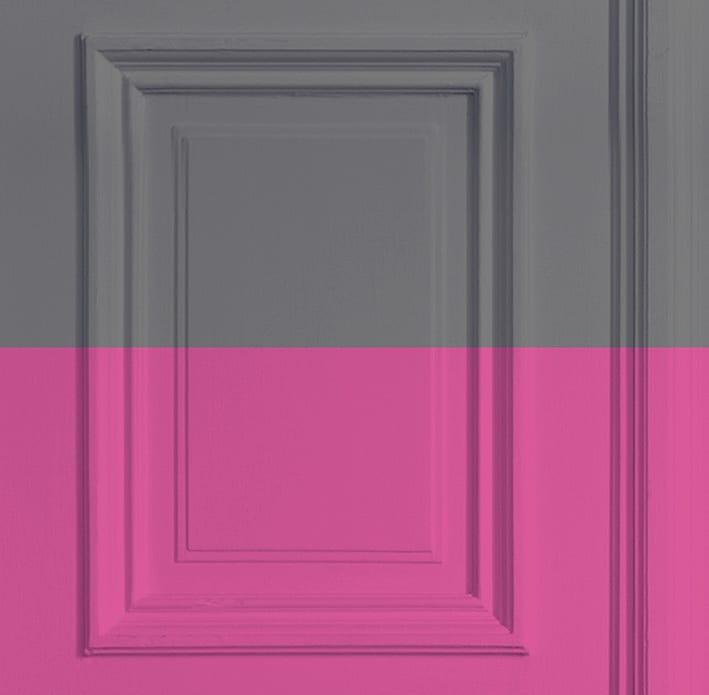 Grey/ Rose Panelling Wallpaper