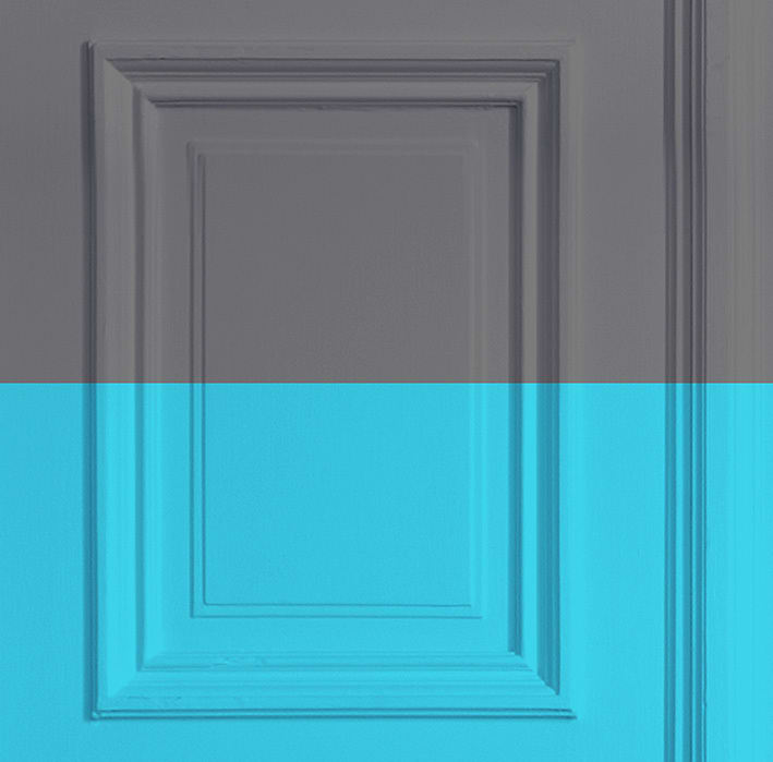 Grey/ Turquoise Panelling Wallpaper