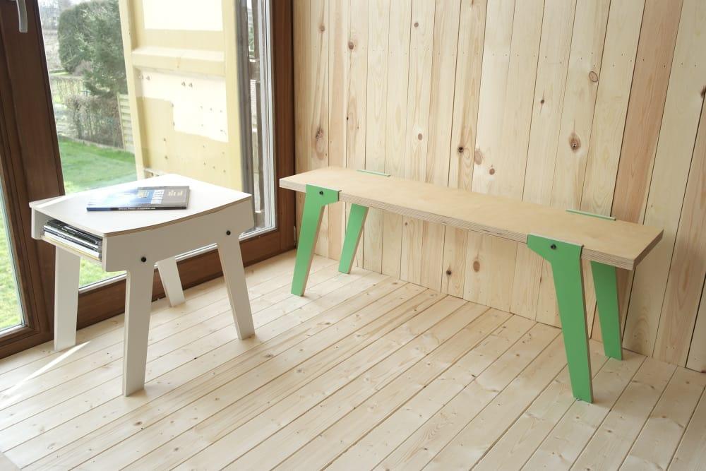 rform Pi Stool - Snow White with Switch Bench 01 - Palm Leaf Green