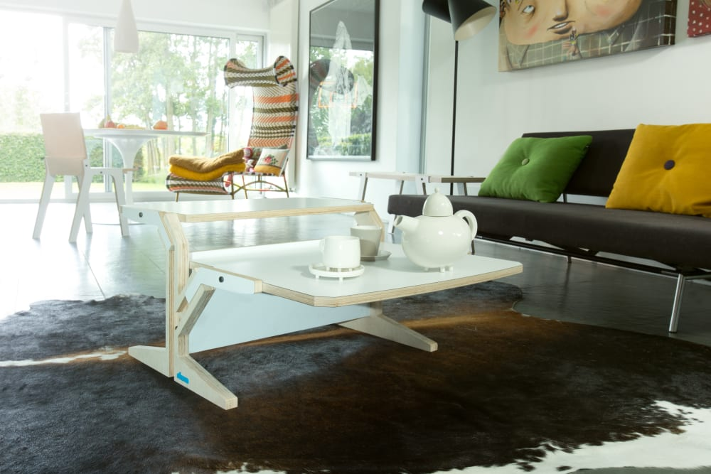 Vegetale Coffee Table - Double Horizontal Tablet - Snow White