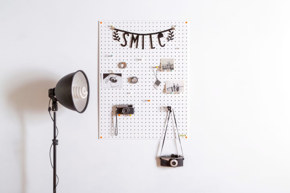 Block Design Large White Pegboard styling idea