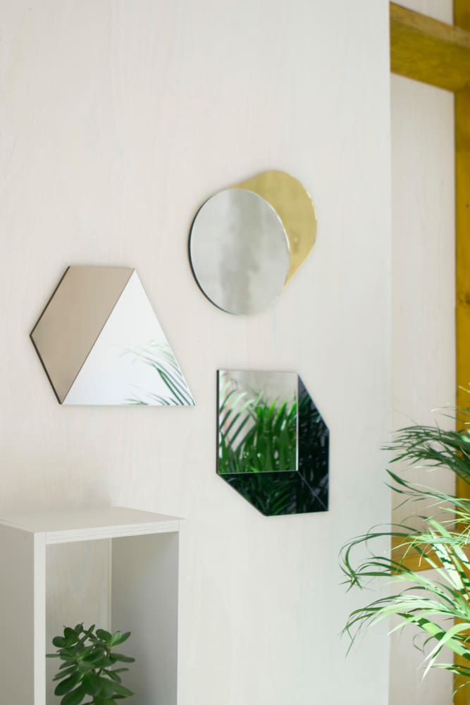 geometric mirror collection in mettalics
