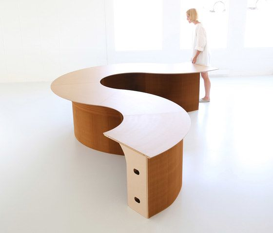 cantilever table modular wedge top | natural kraft paper by molo by molo